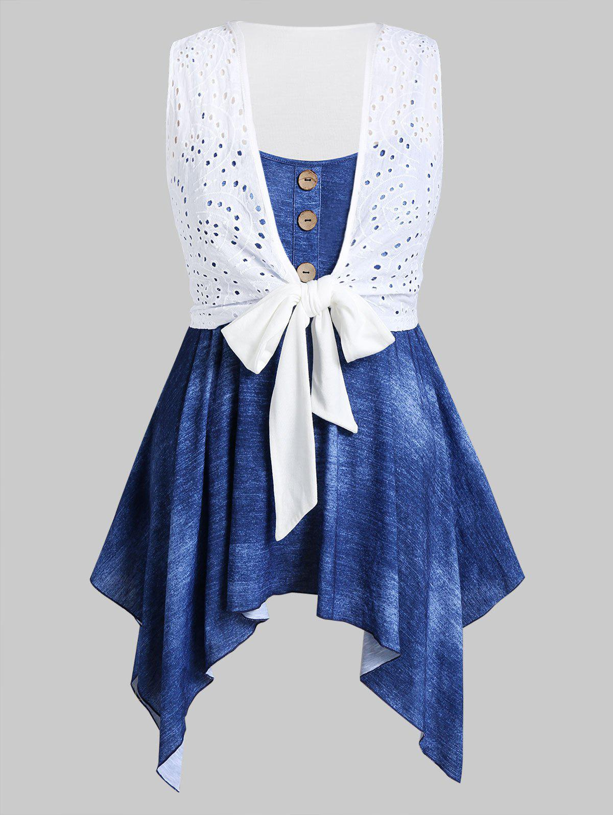 Shops Plus Size Broderie Anglaise Front Tie Top And Handkerchief Cami Set