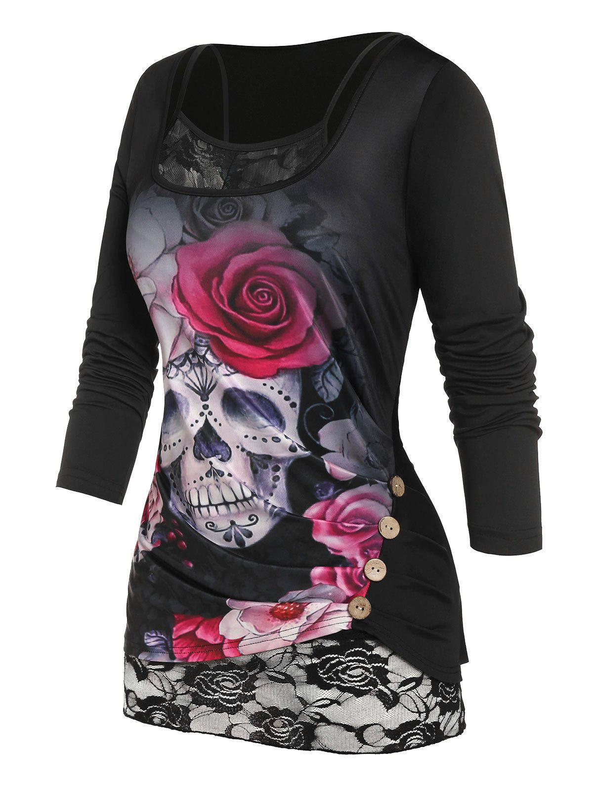 Trendy Plus Size Skull Flower Mock Button T Shirt with Lace Insert Camisole
