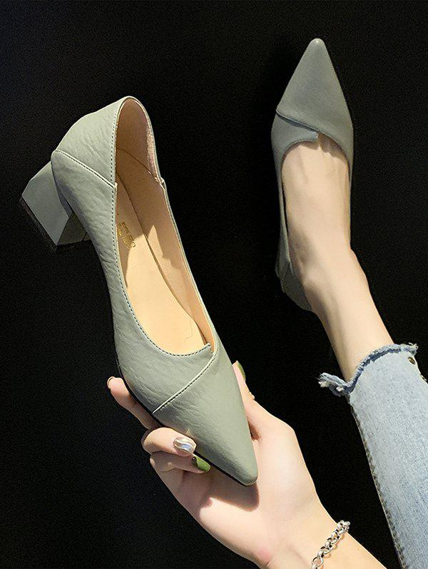 Cheap Pointed Toe Chunky Heel Slip On Shoes