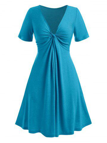 Plus Size Twisted Plunging Collar Dress - BLUE - 1X