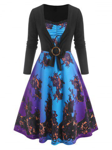 3D Print Lace Insert Ombre Dress with O Ring T Shirt