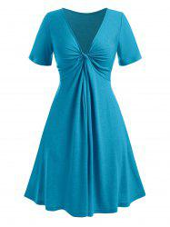 Plus Size Twisted Plunging Collar Dress -