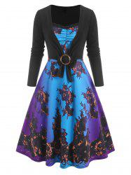 3D Print Lace Insert Ombre Dress with O Ring T Shirt -