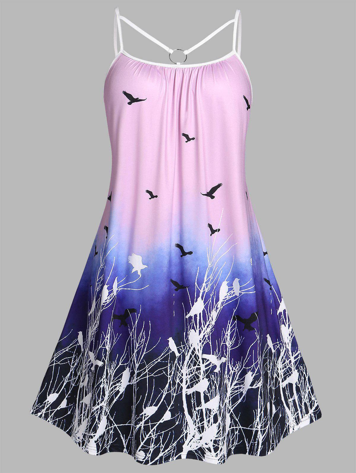 Outfit Plus Size Ombre Bird Print O Ring Cutout Dress
