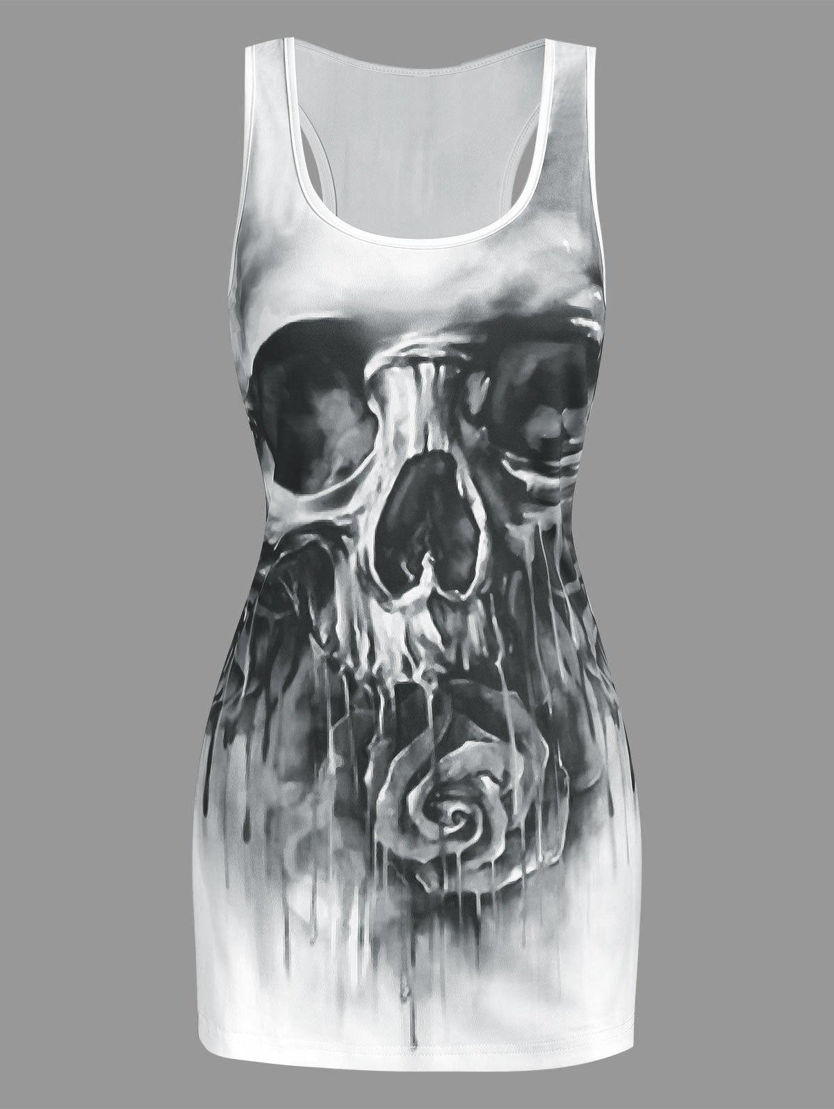Fashion Skull and Flower Print Tank Top
