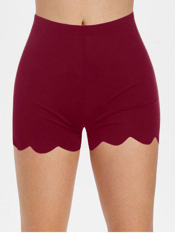 High Waisted Scalloped Skinny Mini Shorts - DEEP RED - XL