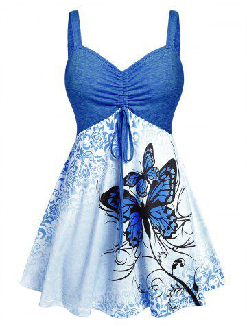 Plus Size Butterfly Skirted Backless Ruched Tank Top