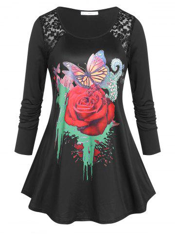 Plus Size Rose Butterfly Print Graphic Tunic T-shirt