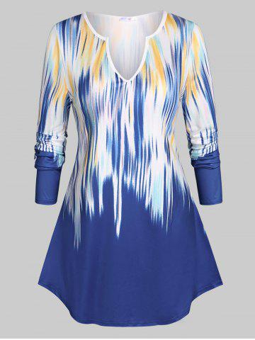 Notched Collar Abstract Print Plus Size Top