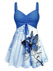Plus Size Butterfly Skirted Backless Ruched Tank Top -