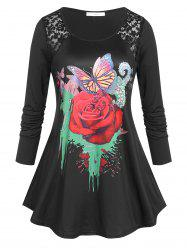 Plus Size Rose Butterfly Print Graphic Tunic T-shirt -