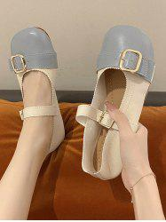 Buckle Two Tone Flat Bar Shoes -