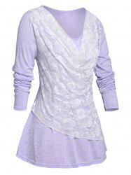 Plus Size Lace Overlay Cowl Front T-shirt -