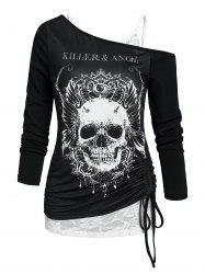 Skew Collar Skull Cinched Tee and Lace Cami Top Set -