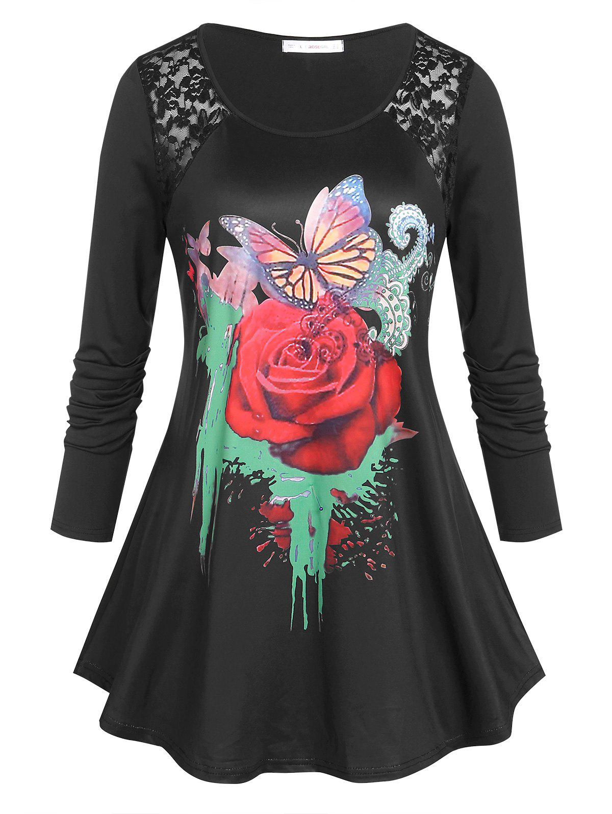 Shop Plus Size Rose Butterfly Print Graphic Tunic T-shirt
