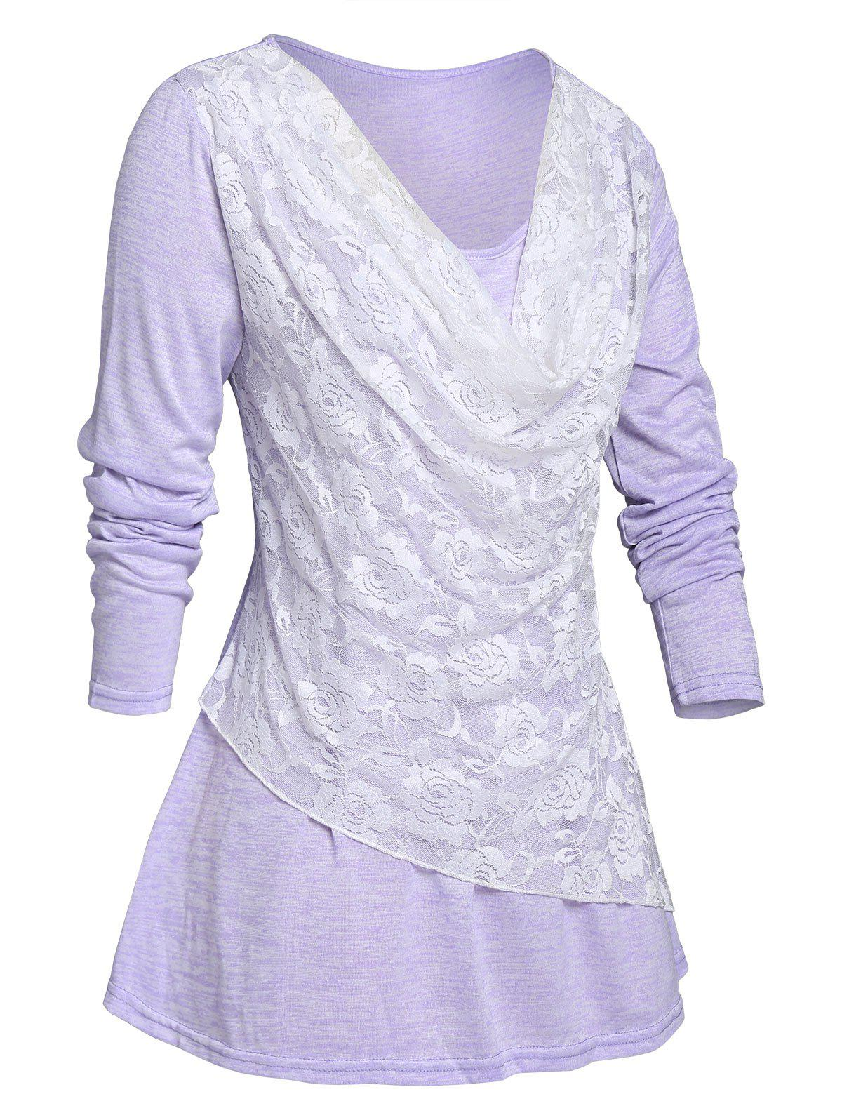 Fancy Plus Size Lace Overlay Cowl Front T-shirt