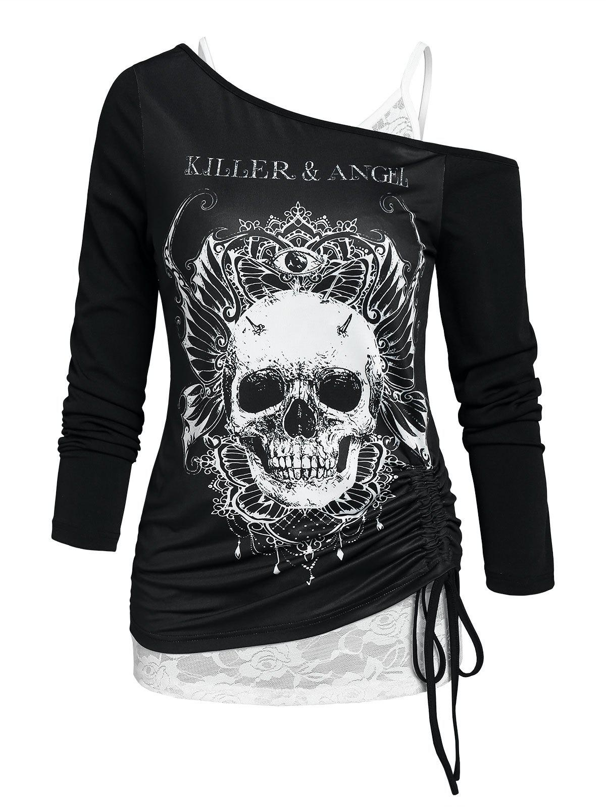 New Skew Collar Skull Cinched Tee and Lace Cami Top Set