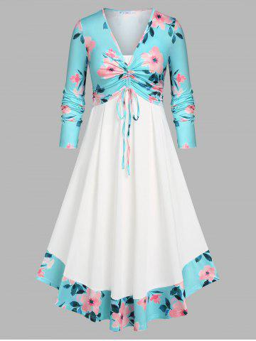 Plus Size Cinched Front Floral Top and Dress Set - LIGHT BLUE - 2X