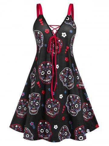 Plus Size Halloween Skull Floral Lace Up A Line Dress