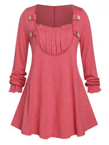 Plus Size Ruched Detail Buttoned Long Sleeve Tunic Top - RED - 3X