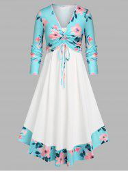 Plus Size Cinched Front Floral Top and Dress Set -