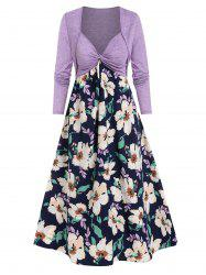 Twist Front Flower Print Cami Dress and Cropped Cardigan -