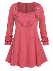 Plus Size Ruched Detail Buttoned Long Sleeve Tunic Top -