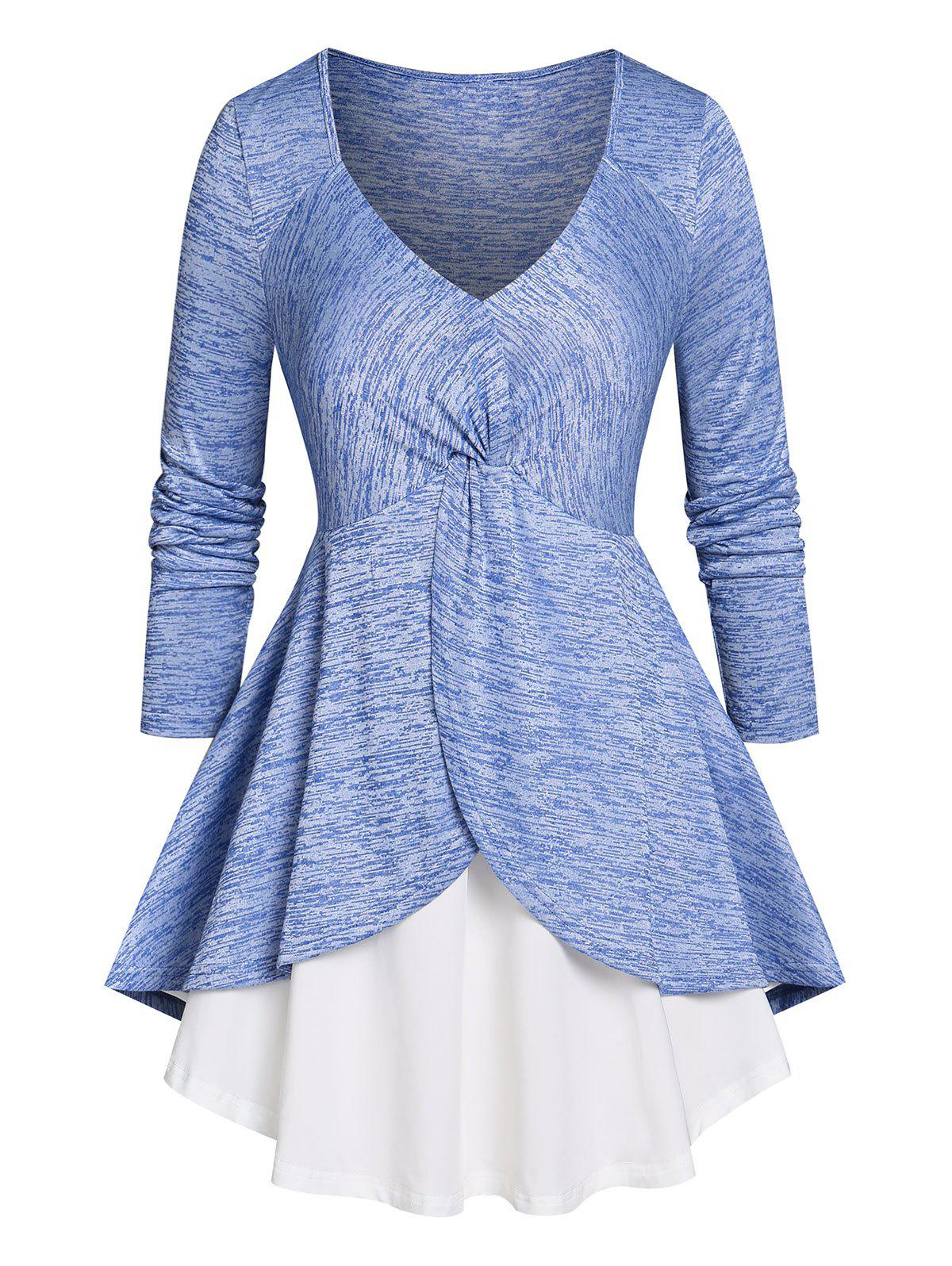 Discount Plus Size Marled Front Twist Layered T Shirt