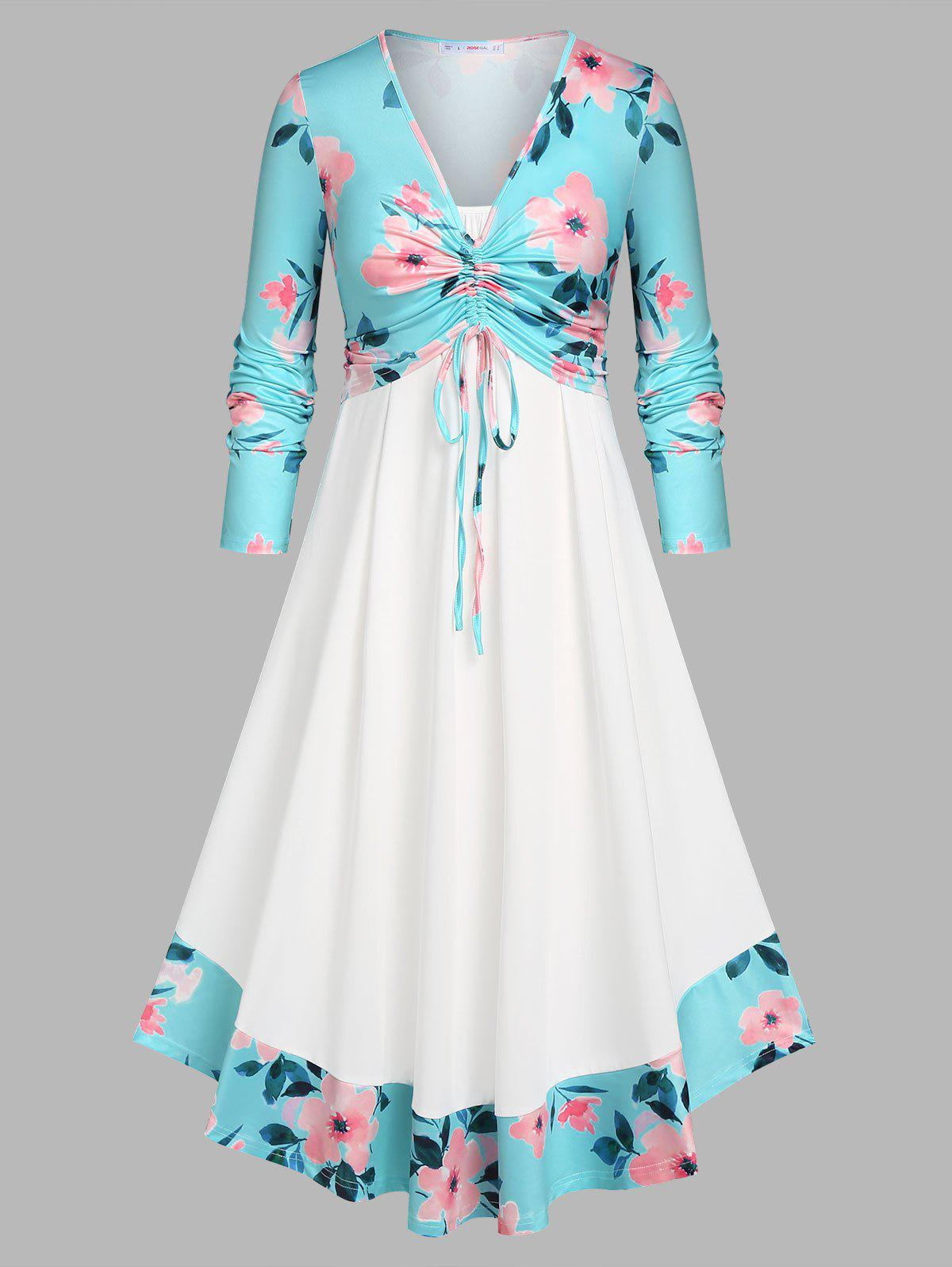 Trendy Plus Size Cinched Front Floral Top and Dress Set