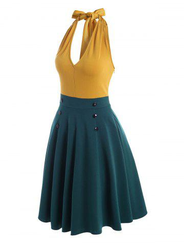 Halter Bicolor Backless A Line Dress - YELLOW - 2XL