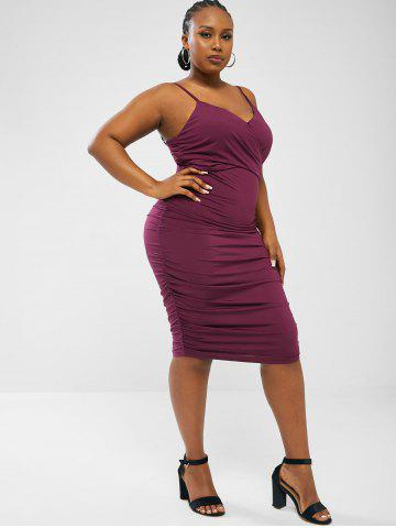 Criss Cross Ruched Side Plus Size Cami Mini Dress - CONCORD - 3XL