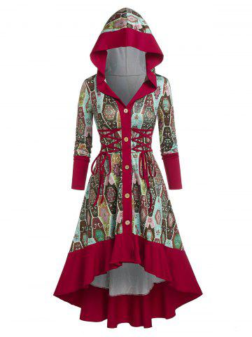 Hooded Lace-up Button Front High Low Print Dress - DEEP RED - XL