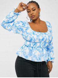 Plus Size Tie Dye Floral Ruched Puff Sleeve Top -