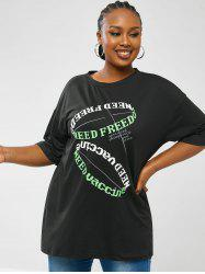 Contrast Letter Graphic Plus Size Oversized Tee -