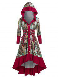 Hooded Lace-up Button Front High Low Print Dress -
