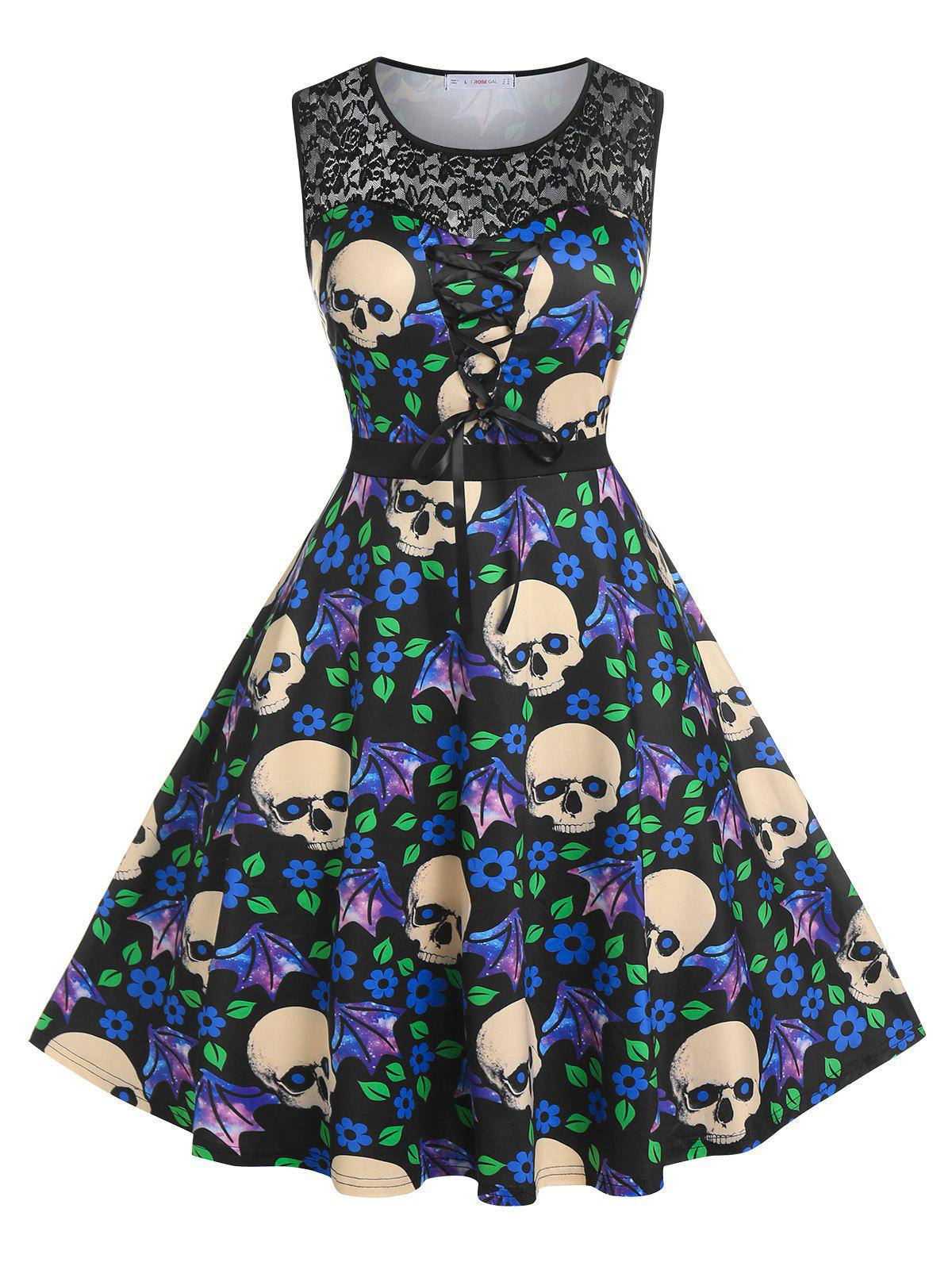 Chic Plus Size Skull Floral Print Lace Insert Dress