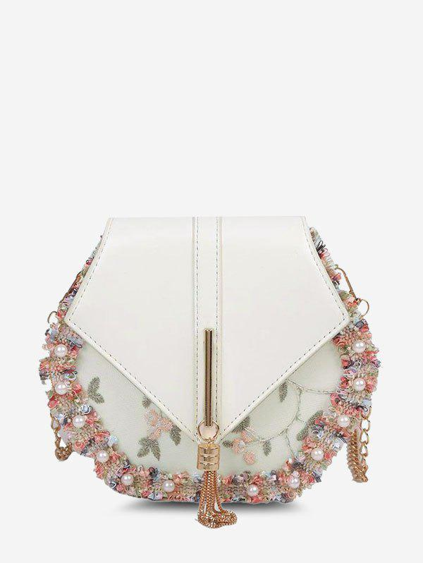 New Embroidery Edge Faux Pearl Crossbody Bag