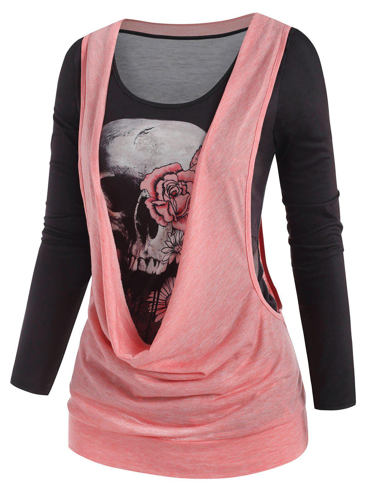 Trendy Halloween Skull Print T-shirt and Cowl Front Drop Armhole Top