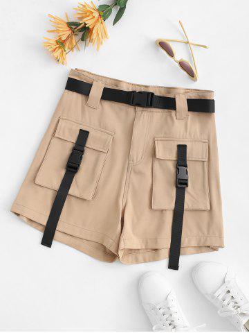 Plus Size Buckle Belted Cargo Shorts - LIGHT COFFEE - 4XL