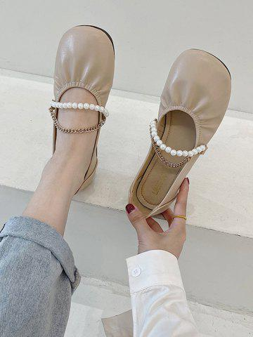 Round-Toe Faux Pearl Chain Slip-On Shoes