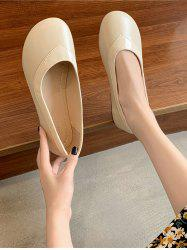 Round Toe Spliced Slip-On Shoes -