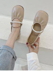 Round-Toe Faux Pearl Chain Slip-On Shoes -