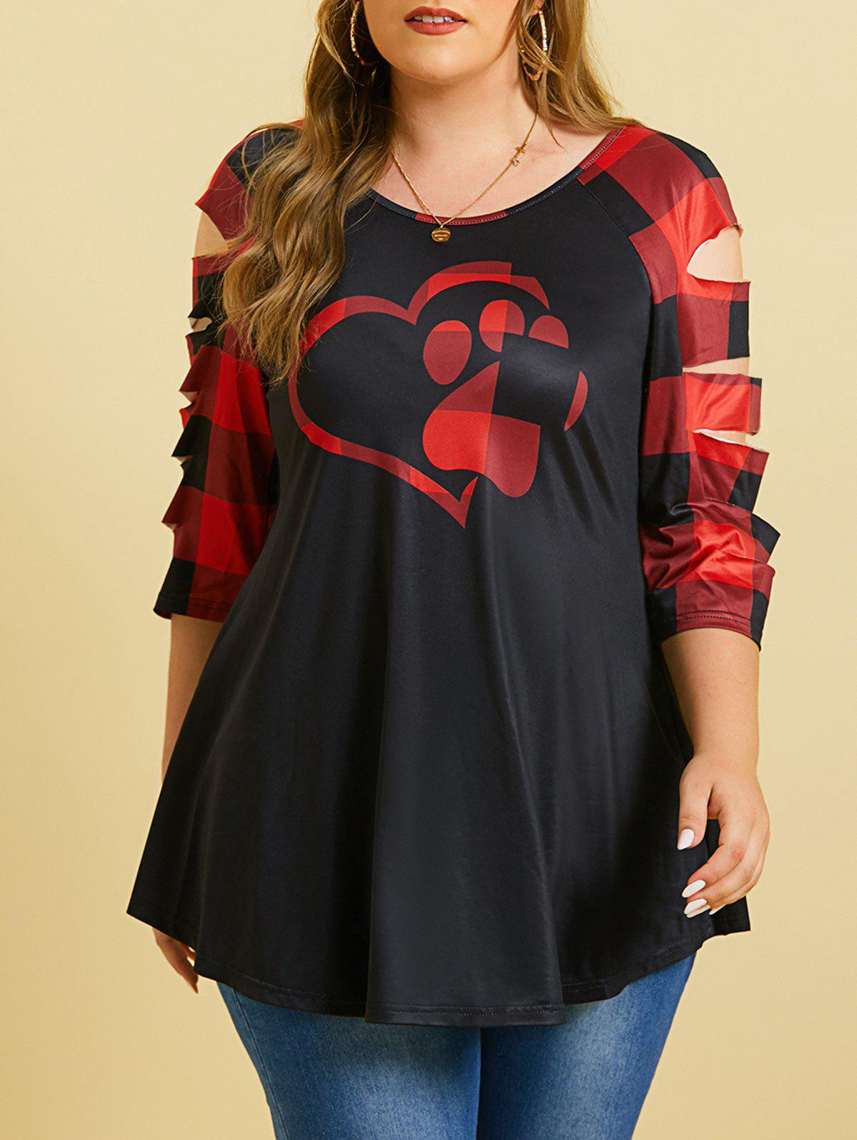 Outfit Ladder Cutout Heart Claw Plaid Plus Size Top