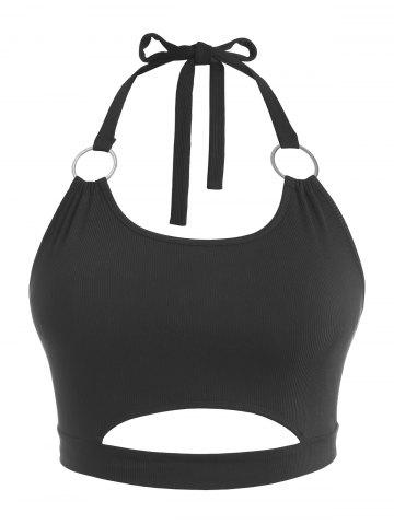 Plus Size Halter Ribbed Rings Keyhole Cutout Top - BLACK - 3XL