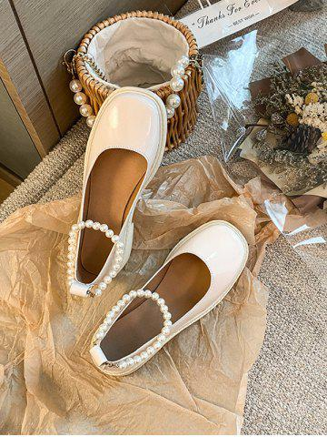 Faux Pearl Ankle Strap Chunky Heel Shoes