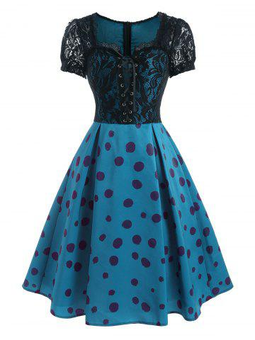Lace Insert Dotted Lace-up Dress - BLUE - S