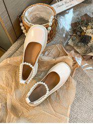 Faux Pearl Ankle Strap Chunky Heel Shoes -