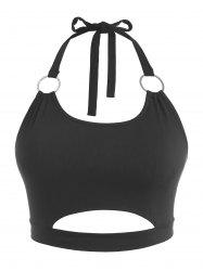 Plus Size Halter Ribbed Rings Keyhole Cutout Top -