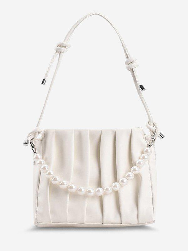 Latest Faux Pearl Pleated Shoulder Bag