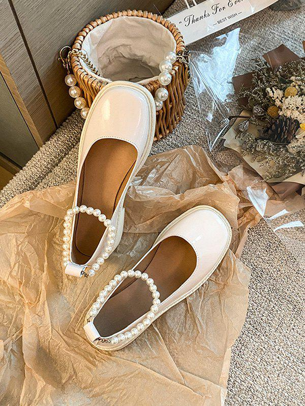Latest Faux Pearl Ankle Strap Chunky Heel Shoes